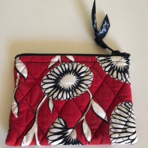 VERA Red and black floral pouch / clutch